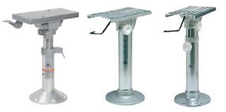 Standfüße für Bootsstühle Eloxal mit Schlitten