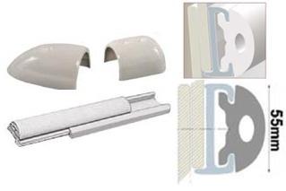 Profilleiste aus starrem Duralen Kunststoff, mit flexibler PVC-Einlage 55mm