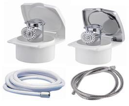 Duschbox New Edge und Dusche mit Druckknopf Mizar