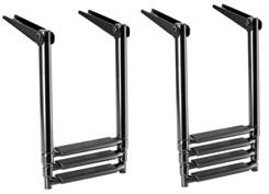 schwarze ausziehbare Leiter für Badeplattform