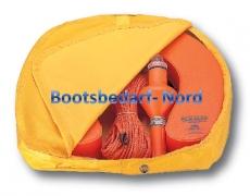 Rettungskragen mit Sicherheitsleine und Rettungslicht in einem Softbehälter