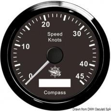 GPS Geschwindigkeitsmesser  Typ 1 Anzeige schwarz, Ring schwarz  Kein Geber notwendig.