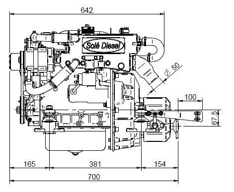 Schiffsmotor Solé Diesel Mini 29 komplett Getriebe