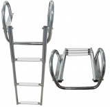 Ausziehbare Leitern für Badeplattform mit Griffen BBN06 3 Stufen Weiß