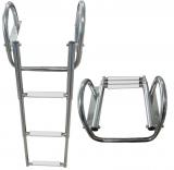 Ausziehbare Leitern für Badeplattform mit Griffen BBN06 4 Stufen weiß