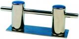 Poller Doppelt Niro Stahl Höhe 95 mm Montage über Fußplatte 160 x 55 mm