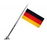 Hochglanzpolierter Flaggenstock mit Fuß Edelstahl mit Schifffahrtsflagge