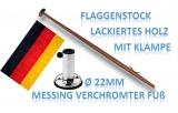 Fahnenstock Länge 600mm 22mm Durchmesser mit Halter 90° und Flagge