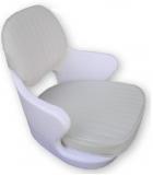 Schalensitz Kreta, weißes Polyethylen, komplett mit Kissen aus grauem Vinyl