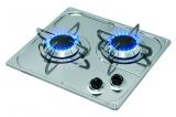 2-flammiger Gaskocher aus Niro zum Einbau diagonale Ausführung