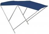 Faltbares Sonnenverdeck mit drei Bögen Höhe 145cm Farbe blau Breite 210 bis 220cm