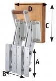 Klappbare Halterung aus Aluminium bis 50kg