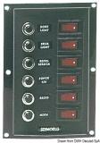 Schalterpaneel, 6-fach, vertikal, Sicherung mit beleuchteten Wippschaltern