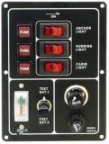 Schalterpaneel, 3-fach vertikal mit Batterietester und Zigarettenanzünder Lindemann