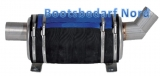 Schalldämpfer Wassersammler Niro 4 Liter 200 x 160mm Anschluß 51mm 45° Eingang und gerader Ausgang