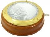 Kajütlampe Messing Mit Basis aus Teakholz und geriffelter Linse. A 158mm