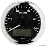 Drehzahlmesser VDO ViewLine mit Gesamt- und Teilanzeige Uhr Voltmeter 3000 U/min schwarz