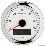 Drehzahlmesser VDO ViewLine mit Gesamt- und Teilanzeige Uhr Voltmeter 6000 U/min weiß