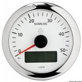 Tacho Sumlog Skala 0/50 Knoten VDO ViewLine mit Gesamt- und Teilanzeige + Uhr + Voltmeter + Echolot + Temperatur H2O weiß