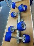Rollenträger Sliprollensystem bewegliche Seitenrollen 8fach blau