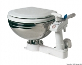 Manuelles WC Edelstahl hochglanzpoliert Modell compact Toilettenbrille Kunststoff weiß