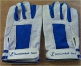Ziegenlederhandschuhe mit 3 Fingerkuppen blau/weiß Größe S