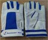 Ziegenlederhandschuhe Fingerkuppenlos, blau/weiß Größe S