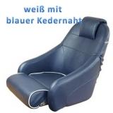 Bootssitz Flip-Up Weiß mit marineblauer Kedernaht