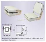 Klassischer Sitz mit einklappbarer Rückenlehne weiß