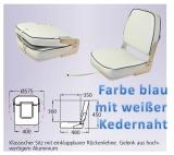 Klassischer Sitz mit einklappbarer Rückenlehne blau