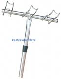 Angelrutenhalter aus Edelstahl  AISI 316  Für 3 Angelruten links