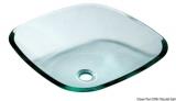 Glas-Waschbecken transparent, halb quadratisch 420 x 420 mm