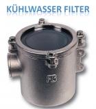Kühlwasserfilter, robust 1 1/4 Zoll, 12.500 Liter pro Stunde, Höhe 178mm RINA zugelassen