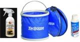 das Set enthält 1 x Autosol® Wasserloser Caravaon Reinigere  1 x Aqua Clean AC 1000 -ohne Chlor- 100 ml 1 x Falteimer 9 Liter