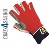 Racing Segelhandschuhe - 5 Finger geschnitten, rot Größe XXL