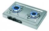 2-flammiger Gaskocher aus Niro im Aufbaugehäuse