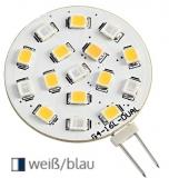 SMD LED-Glühbirne, zweifarbig. Mit G4 Lampensockel weiß/blau 24V