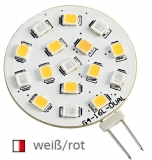 SMD LED-Glühbirne, zweifarbig. Mit G4 Lampensockel weiß/rot 24V