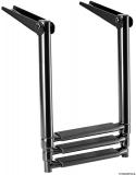 Total Black schwarze ausziehbare Leiter für Badeplattform 3Stufen