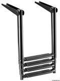 Total Black schwarze ausziehbare Leiter für Badeplattform 4Stufen
