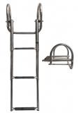 Ausziehbare Leitern für Badeplattform mit Griffen BBN06 3 Stufen schwarz