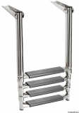 Teleskopleitern für Badeplattform mit ovalem Rohrgestell und größeren Stufen  44,5mm 4 Stufen