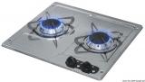 2-flammiger Gaskocher aus Niro zum Einbau horizontale Ausführung