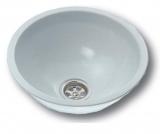 NIRO-Waschbecken rund weiß, Epoxy beschichtet Ø = 290mm Außenmaß