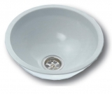 NIRO-Waschbecken rund weiß, Epoxy beschichtet Ø = 330mm Außenmaß