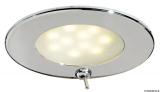 LED-Einbauleuchte VA-Stahl, poliert ATRIA  Wasserdicht, IP40. hochglanzpoliert mit Schalter