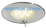 LED-Einbauleuchte VA-Stahl, poliert ATRIA  Wasserdicht, IP40. Nickelfarbe, satiniert mit Schalter