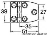 Scharnier VA-Stahl rtrapezförmig 6 Innengewinde 51x38mm