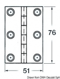 Scharnier VA-Stahl rechteckig  8 Innengewinde 76x51mm