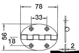 Schanier, oval 78x56 mm Schraubenbefestigung  2 mm